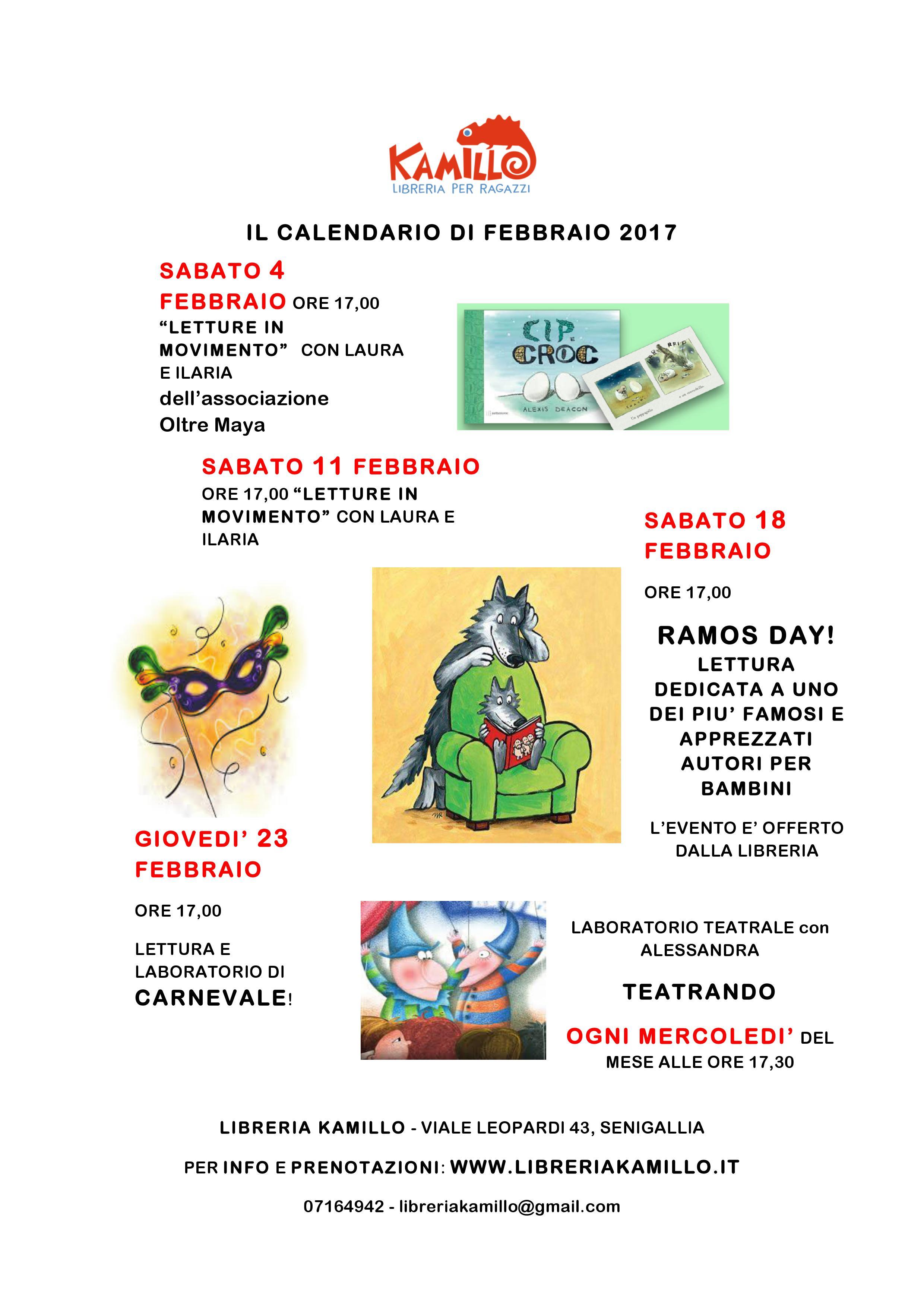 calendario febbraio libreria Kamillo