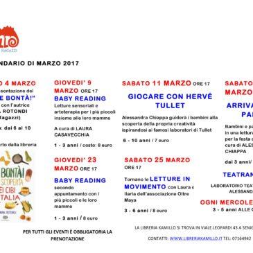 Calendario eventi del mese di marzo 2017