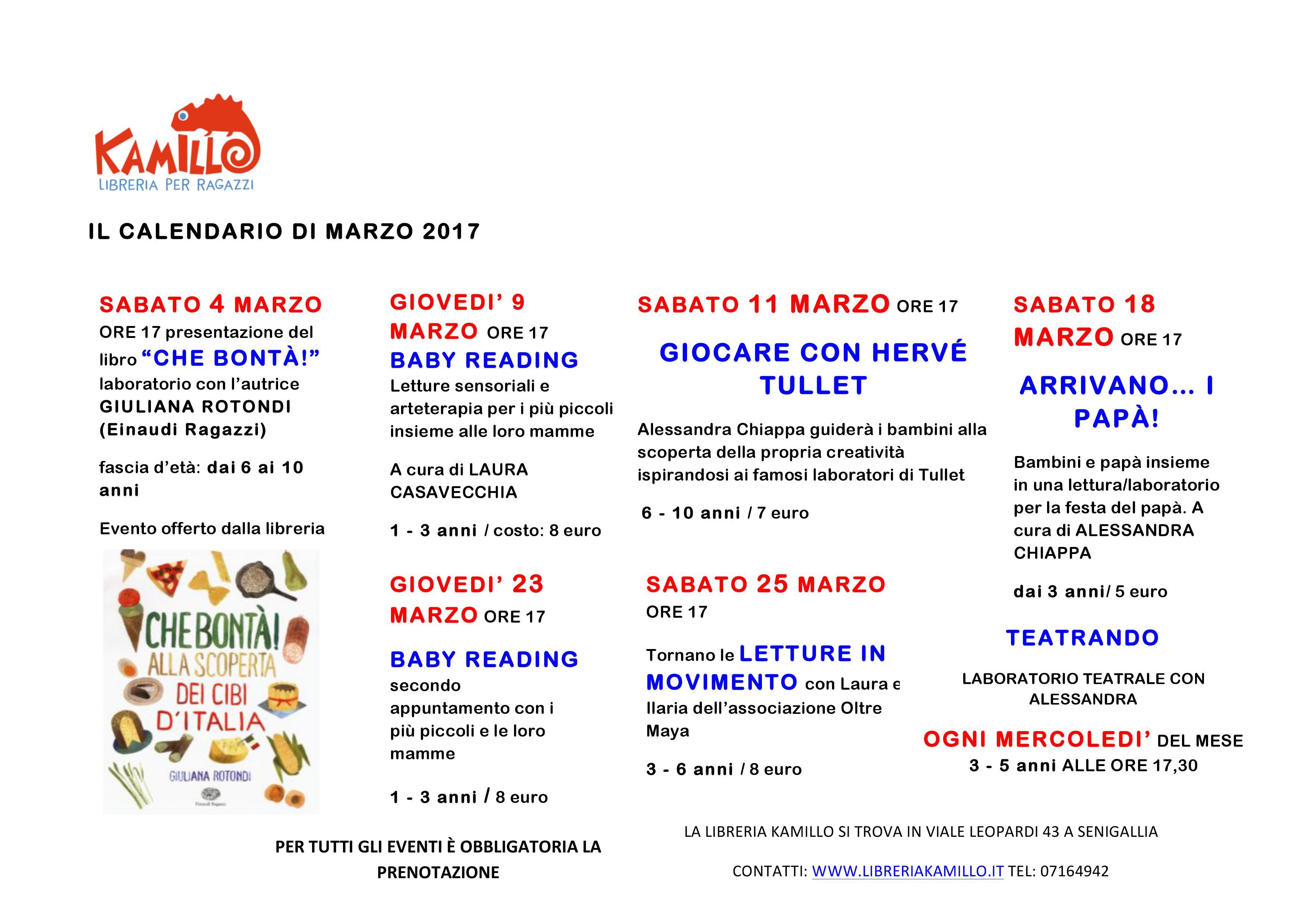 Calendario Di Marzo.Calendario Eventi Del Mese Di Marzo 2017 Libreria Kamillo