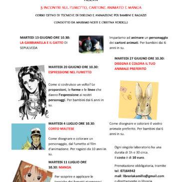 Da martedì 13 giugno a martedì 11 luglio: corso di fumetto, cartone animato e manga!