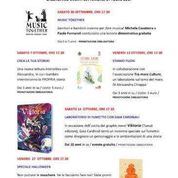 Calendario eventi settembre e ottobre