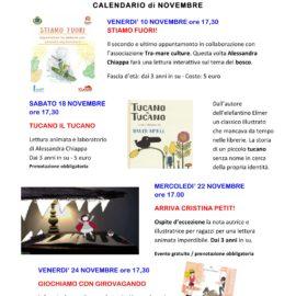 Il calendario degli eventi di novembre