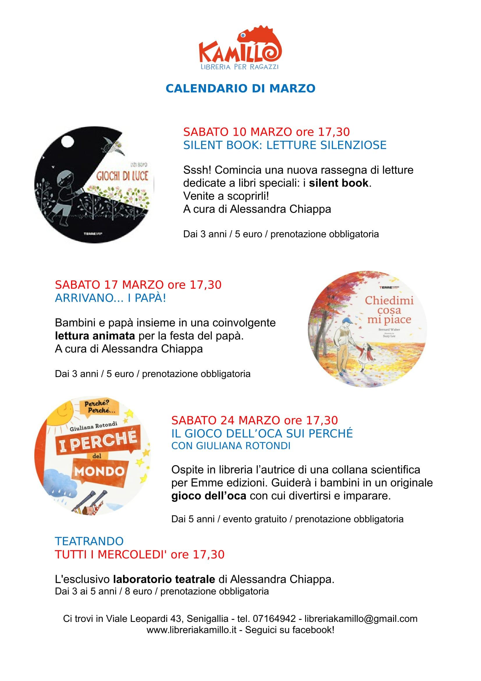 Calendario Di Marzo.Il Calendario Degli Eventi Di Marzo Libreria Kamillo